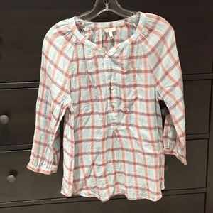 Joie blue and coral plaid blouse with buttons